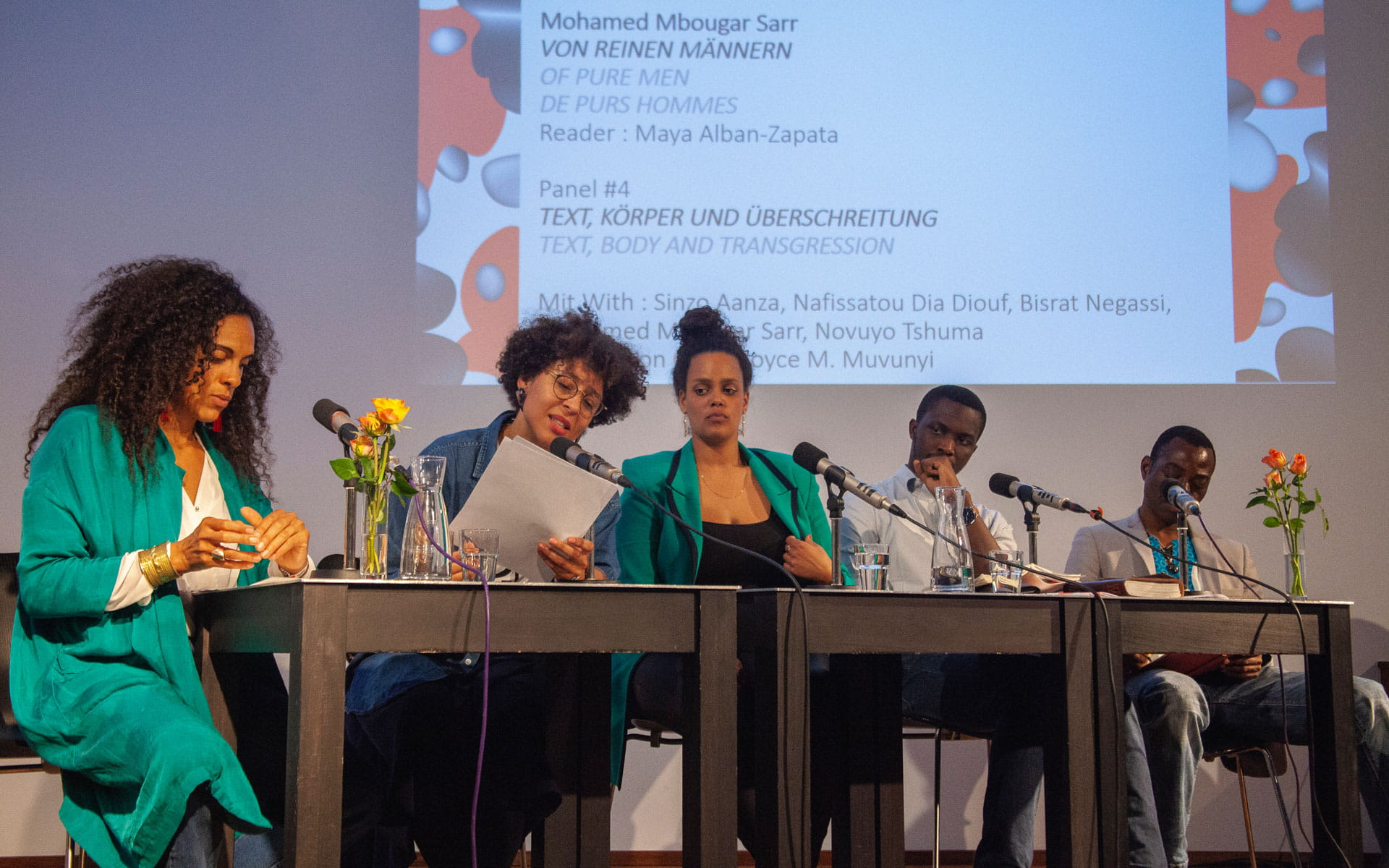 Sinzo Aanza, Nafissatou Dia Diouf, Lola Keyezua, Bisrat Negassi, Mohamed Mbougar Sarr, Novuyo Rosa Tshuma: Panel #4 Text, Körper und Überschreitung <br/>(c) Lemia Bodden
