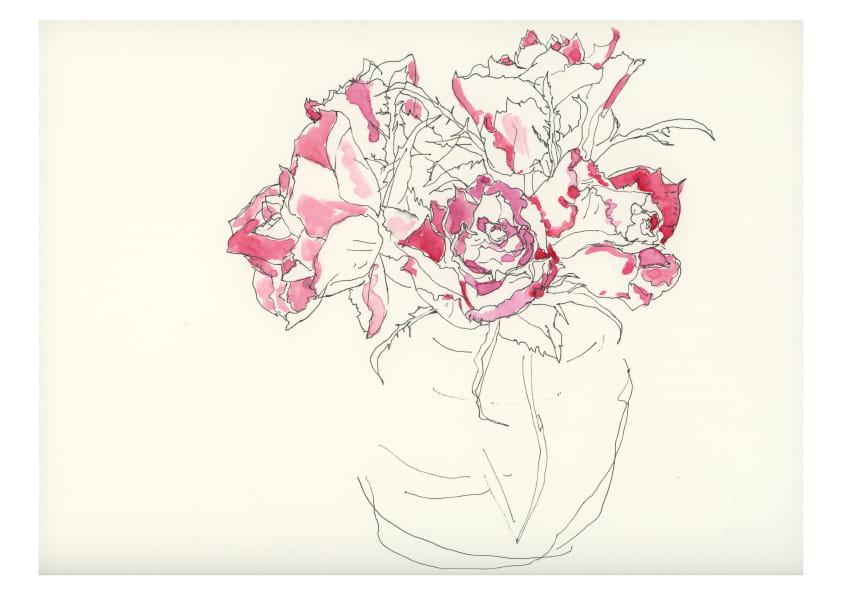Rosenstrauß (Mai 2020), kolorierte Tuschezeichnung 30 x 40 cm 97
