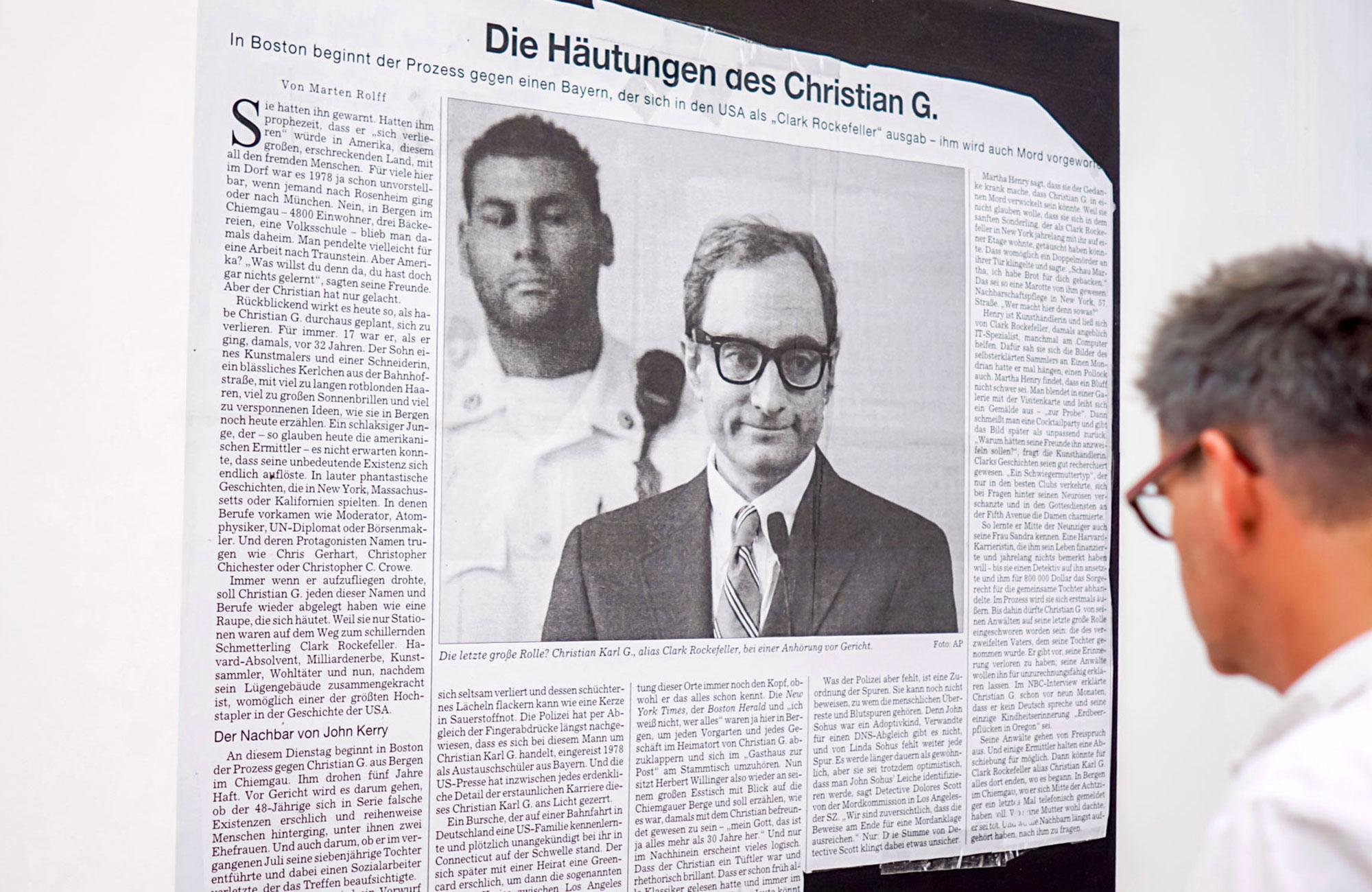 Sara-Lena Maierhofer: Dear Clark. Studie eines Hochstaplers, Samstag, 24.09.16                      -                          Sonntag, 06.11.16 <br/>(c) Sebastian Wenzel