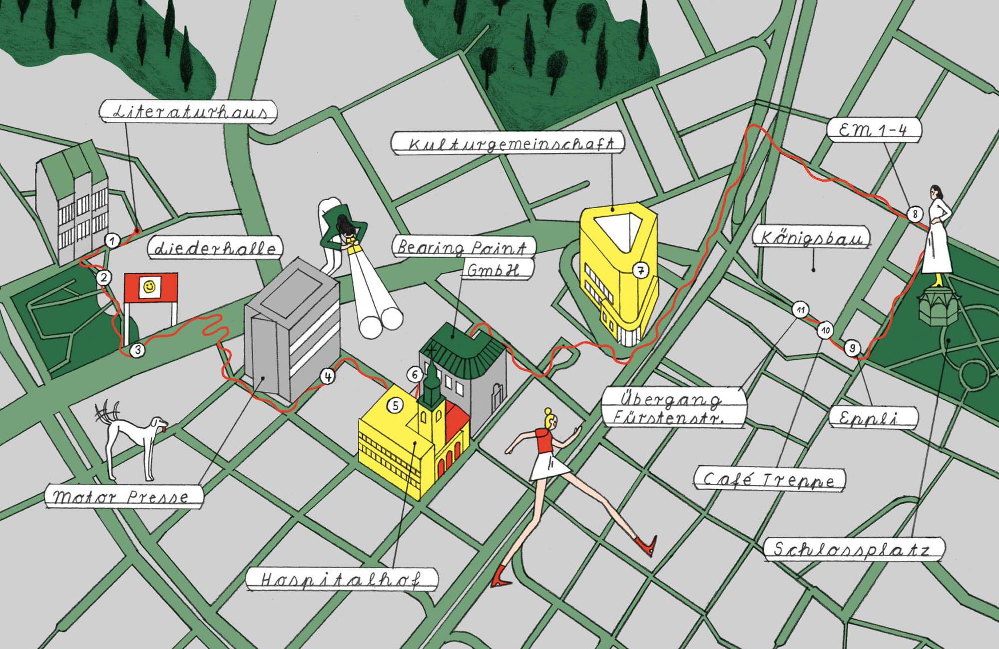 Vom Literaturhaus zum Schlossplatz: Ein Comic in der Stadt