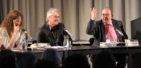 Denis Scheck, Sandra Richter, Jörg Maurer: Heimathype <br/>(c) Heiner Wittmann