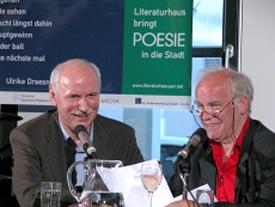 Ulrike Draesner, Wieland Backes, Peter Franke, Franzobel: Poesie in die Stadt <br/>(c) Heiner Wittmann