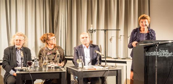 Thomas Rosenlöcher, Carolin Callies, Jörg Piringer, Friedrich W. Block, Timo Brunke, Rike Scheffler: Stuttgarter Lyriknacht 2015 <br/>(c) Sebastian Wenzel