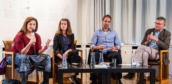 Mark Terkessidis, Kateryna Mishchenko, Nora Amin, Jörg Armbruster: Neue kulturelle Räume: Vernetzen und kollaborieren <br/>(c) die arge lola