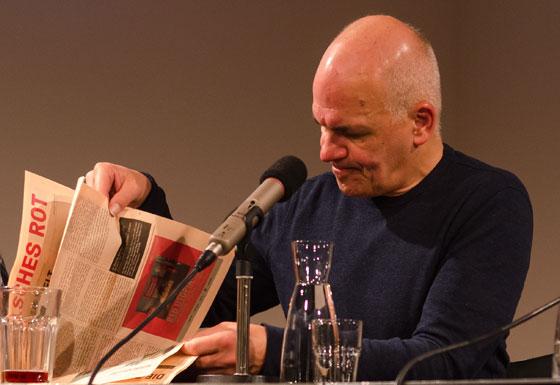 Frank Witzel, Ulf Stolterfoht, Dieter M. Gräf: Falsches Rot <br/>(c) Simon Adolphi; Literaturhaus