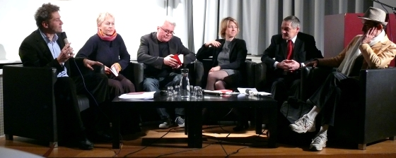 Anke te Heesen, Ulrike Draesner, Gerhard Falkner, Christophe Marchand-Kiss: Sperrige Wörter <br/>(c) Heiner Wittmann